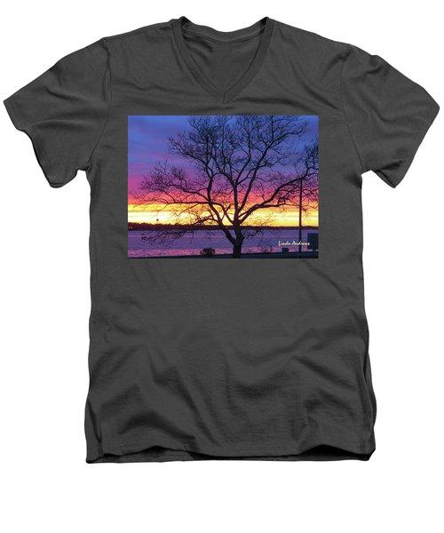 Men's V-Neck T-Shirt featuring the photograph Rainbow Sunset by Robert Henne