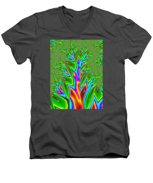 Men's V-Neck T-Shirt featuring the photograph Rainbow Tree by Ronda Broatch