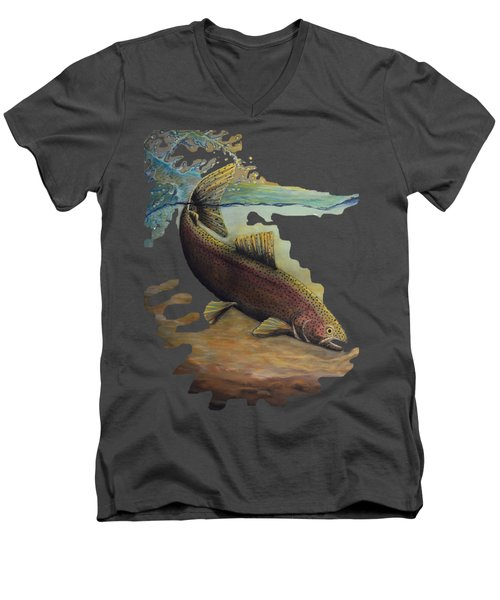 Rainbow Trout Trans Men's V-Neck T-Shirt by Kimberly Benedict