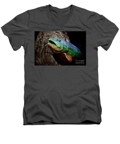 Rainbow Trout Wood Sculpture Men's V-Neck T-Shirt by John Stephens