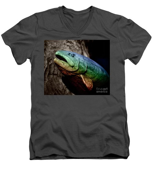Rainbow Trout Wood Sculpture Square Men's V-Neck T-Shirt by John Stephens