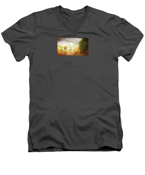 Men's V-Neck T-Shirt featuring the photograph Raincloud Over Malamocco by Anne Kotan
