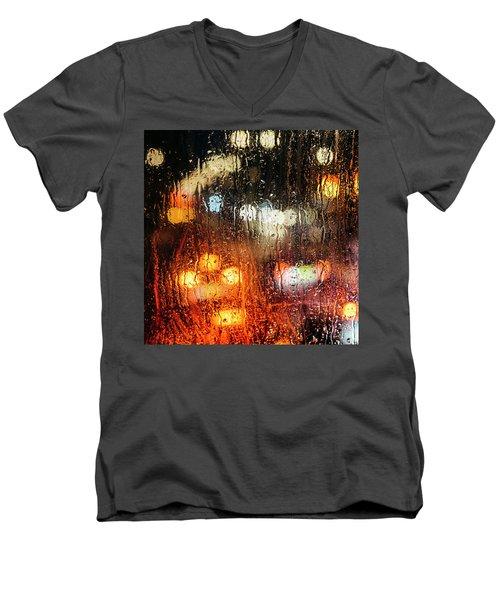 Raindrops On Street Window Men's V-Neck T-Shirt