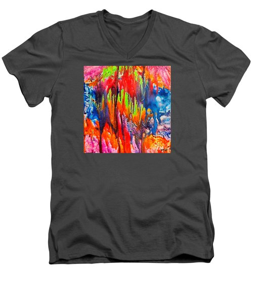 Men's V-Neck T-Shirt featuring the painting Raindrops On The Window by Dragica  Micki Fortuna