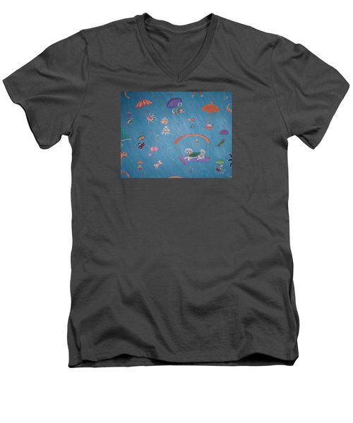 Raining Cats And Dogs Men's V-Neck T-Shirt by Dee Davis