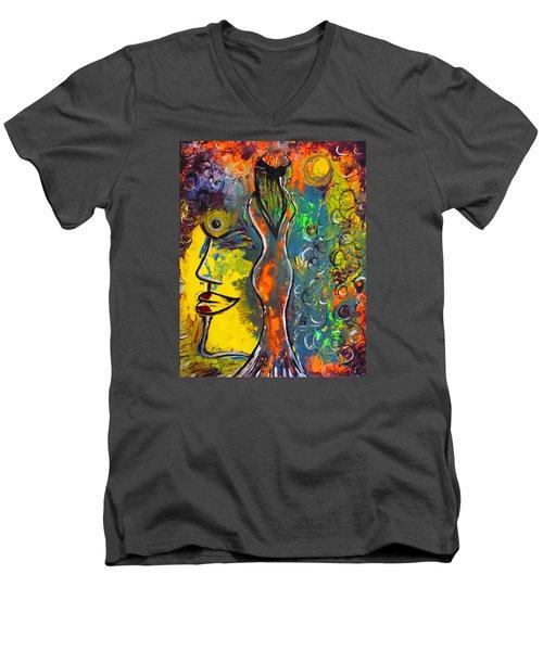 Rainsunbow Men's V-Neck T-Shirt