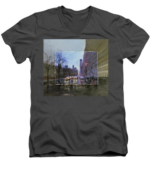 Rainy City Street Layered Men's V-Neck T-Shirt