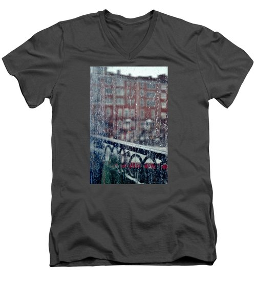 Men's V-Neck T-Shirt featuring the photograph Rainy Day In Portsmouth by Richard Ortolano