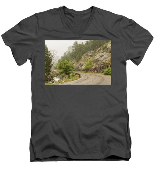 Men's V-Neck T-Shirt featuring the photograph Rainy Misty Boulder Creek And Boulder Canyon Drive by James BO Insogna