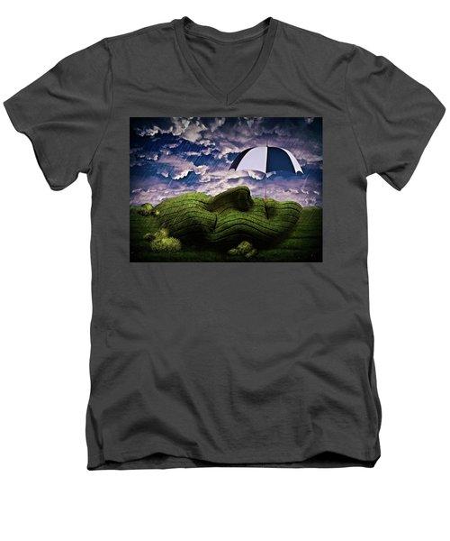 Rainy Summer Day Men's V-Neck T-Shirt by Mihaela Pater