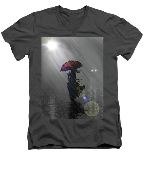 Rainy Walk Men's V-Neck T-Shirt