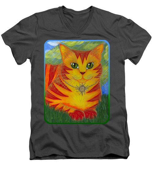 Rajah Golden Sun Cat Men's V-Neck T-Shirt