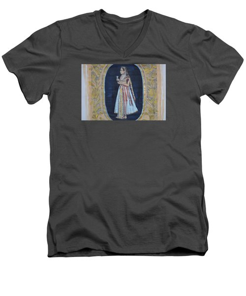 Men's V-Neck T-Shirt featuring the painting Rajasthani Queen by Vikram Singh