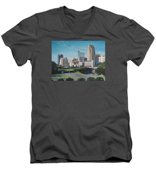 Raleigh Downtown Realistic Men's V-Neck T-Shirt
