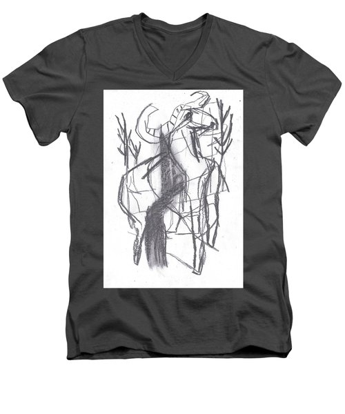 Ram In A Forest Men's V-Neck T-Shirt