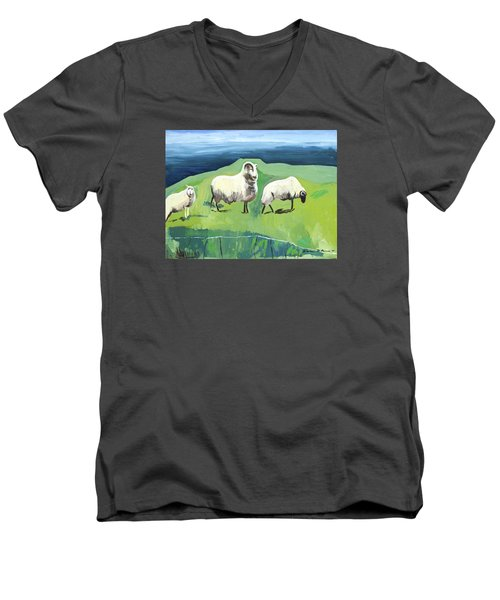 Ram On A Hill Men's V-Neck T-Shirt