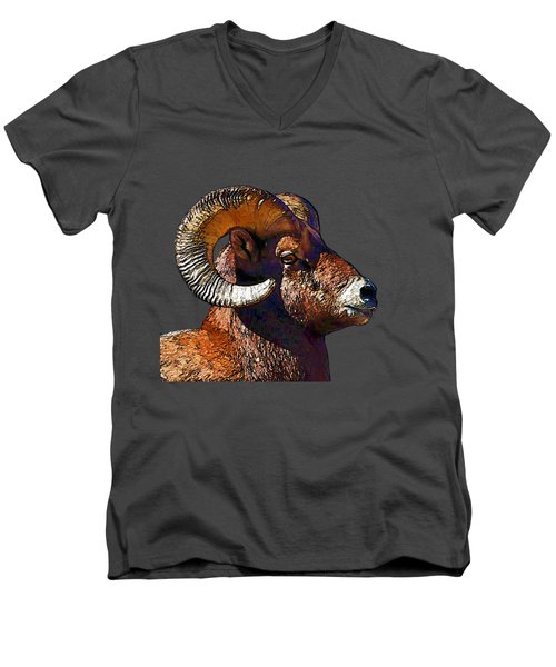 Ram Portrait - Rocky Mountain Bighorn Sheep By Olena Art Men's V-Neck T-Shirt