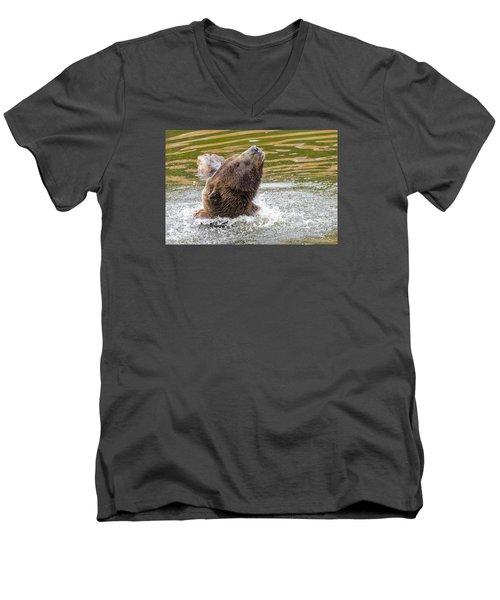 Rambo Bear Men's V-Neck T-Shirt by Harold Piskiel
