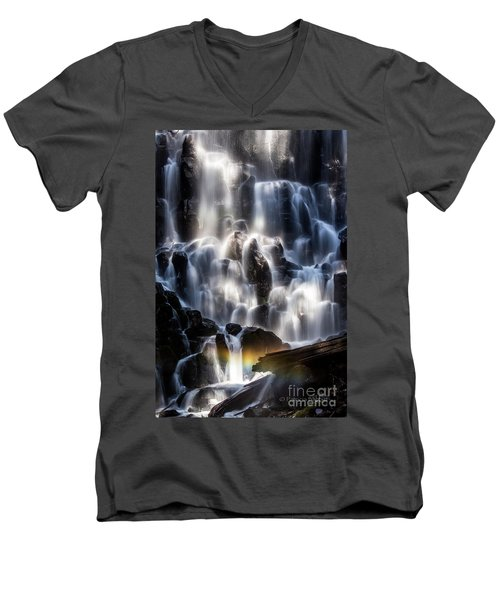Ramona Falls With Rainbow Men's V-Neck T-Shirt by Patricia Babbitt