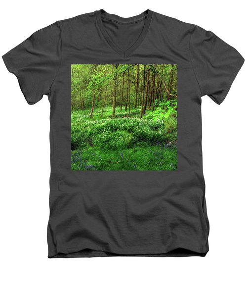 Ramsons And Bluebells, Bentley Woods Men's V-Neck T-Shirt by John Edwards