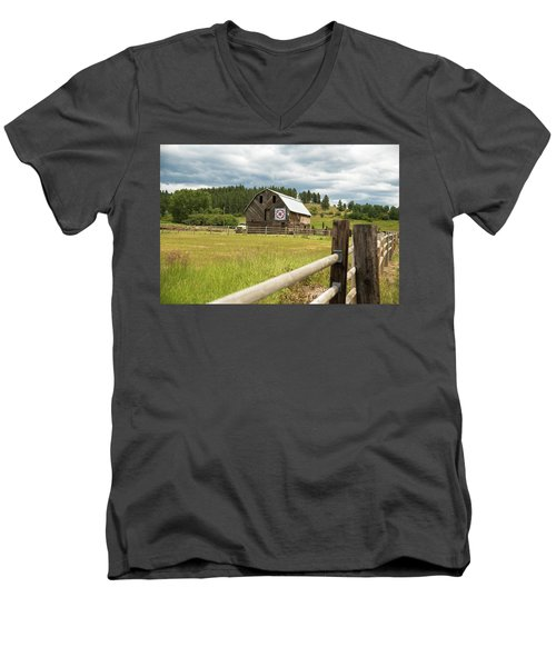 Ranch Fence And Barn With Hex Sign Men's V-Neck T-Shirt