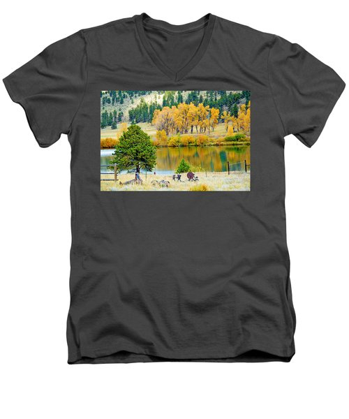 Ranch Pond In Autumn Men's V-Neck T-Shirt