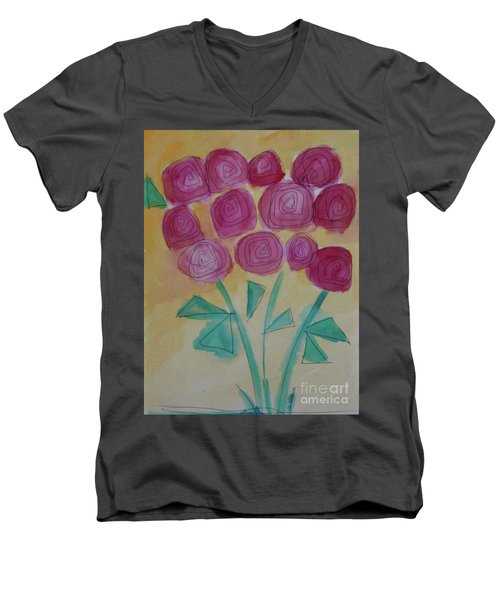 Randi's Roses Men's V-Neck T-Shirt by Kim Nelson