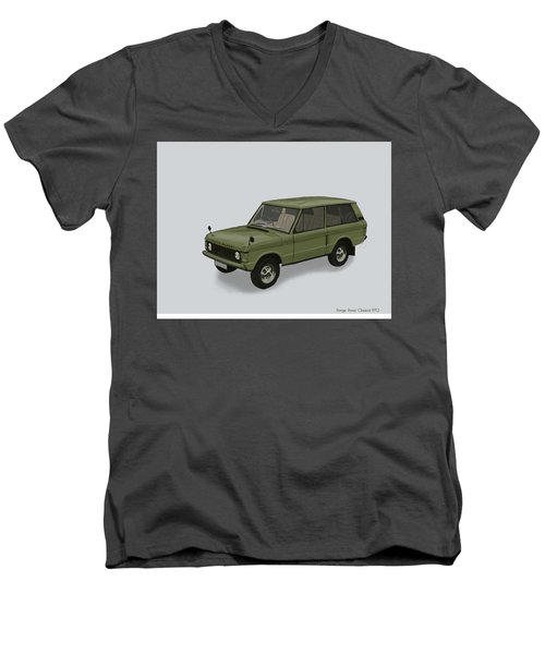 Men's V-Neck T-Shirt featuring the mixed media Range Rover Classical 1970 by TortureLord Art