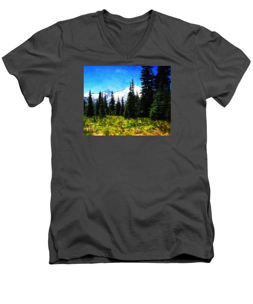 Men's V-Neck T-Shirt featuring the photograph Ranier Mountain Meadow by Timothy Bulone