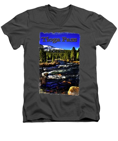 Rapids Along The Tioga Pass Road Men's V-Neck T-Shirt by Roger Passman