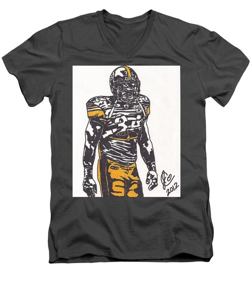 Men's V-Neck T-Shirt featuring the drawing Rashard Mendenhall 2 by Jeremiah Colley