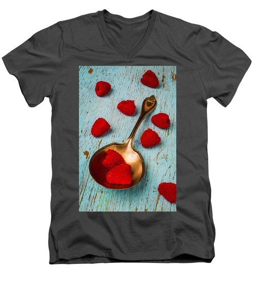 Raspberries With Antique Spoon Men's V-Neck T-Shirt by Garry Gay