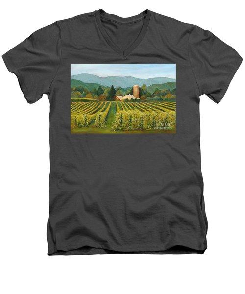 Raspberry Rows Men's V-Neck T-Shirt by Phyllis Howard