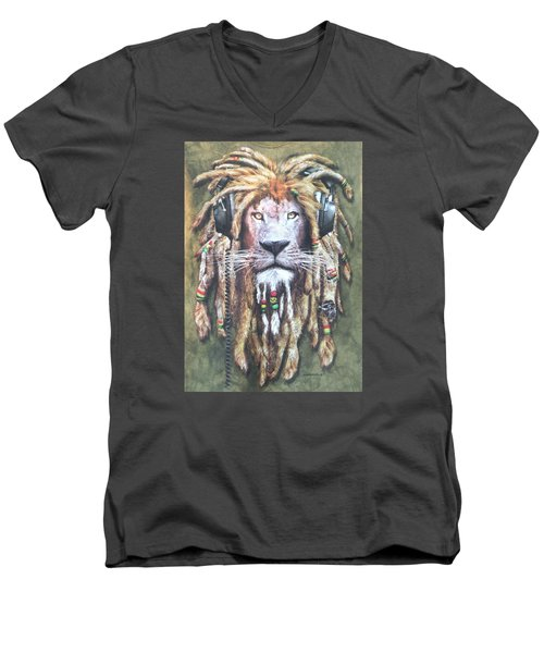 Rasta Lion Men's V-Neck T-Shirt