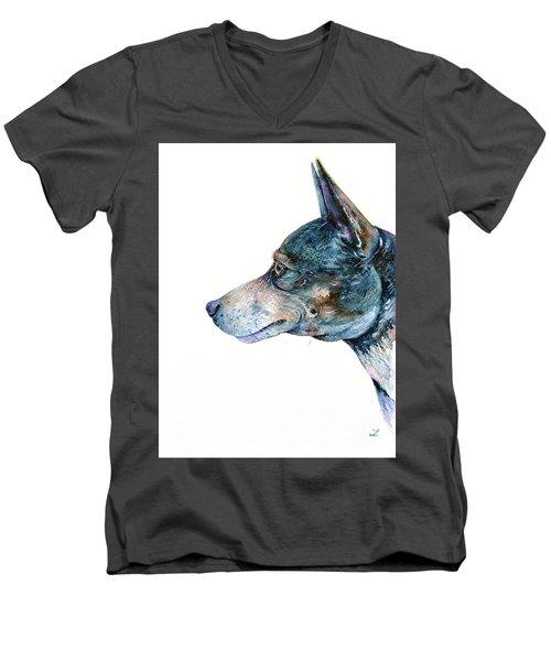 Men's V-Neck T-Shirt featuring the painting Rat Terrier by Zaira Dzhaubaeva