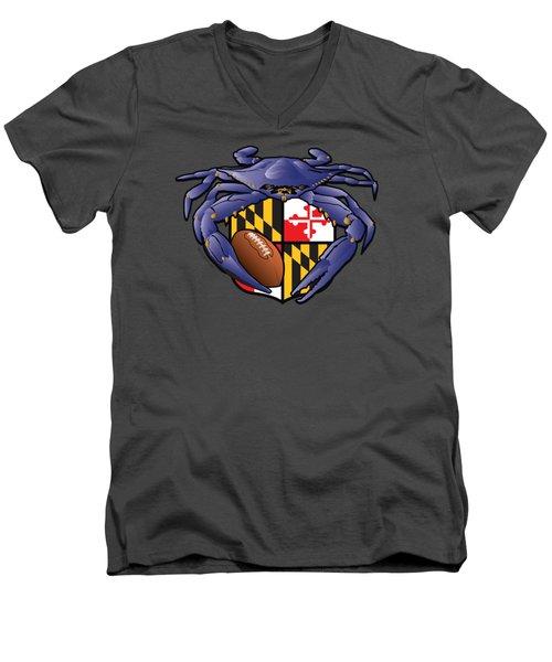 Raven Crab Football Maryland Crest Men's V-Neck T-Shirt