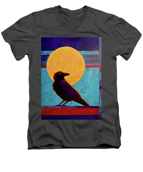 Raven Moon Men's V-Neck T-Shirt by Nancy Jolley