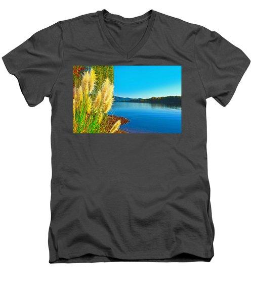 Ravenna Grass Smith Mountain Lake Men's V-Neck T-Shirt by The American Shutterbug Society