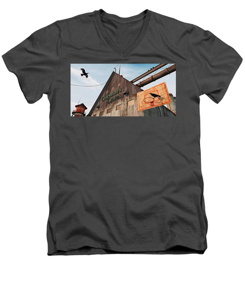 Men's V-Neck T-Shirt featuring the painting Game On by Peter J Sucy