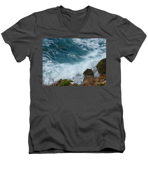 Raw Blue Power Men's V-Neck T-Shirt by Margaret Brooks