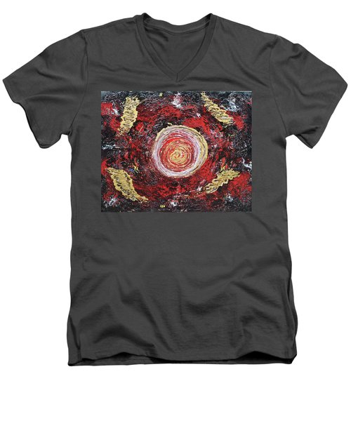 Raw Harmony Red And Gold Art Men's V-Neck T-Shirt