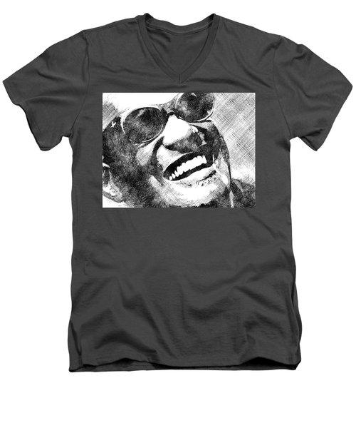 Ray Charles Bw Portrait Men's V-Neck T-Shirt by Mihaela Pater