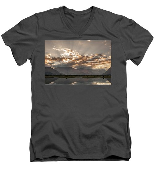 Men's V-Neck T-Shirt featuring the photograph Rays And Reflection, Hunder, 2006 by Hitendra SINKAR