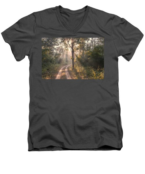 Rays Through Jungle Men's V-Neck T-Shirt by Hitendra SINKAR