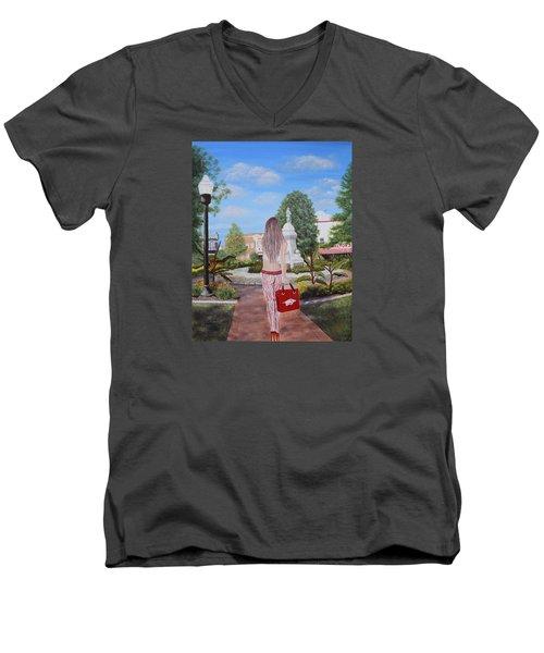 Razorback Swagger At Bentonville Square Men's V-Neck T-Shirt by Belinda Nagy