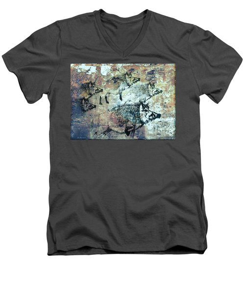 Wild Boars Men's V-Neck T-Shirt by Larry Campbell