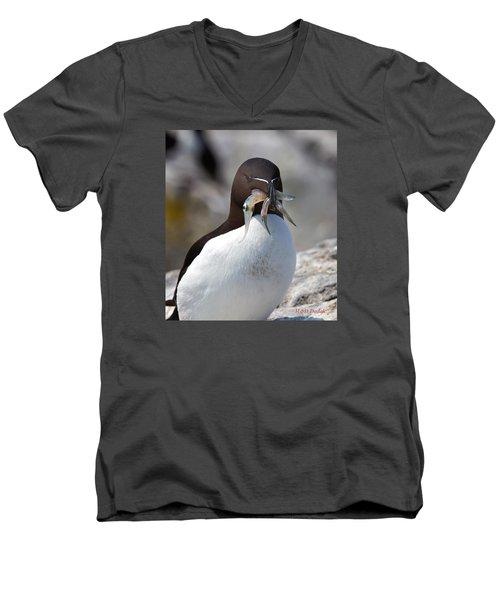 Razorbill With Catch Men's V-Neck T-Shirt by Mike Dodak
