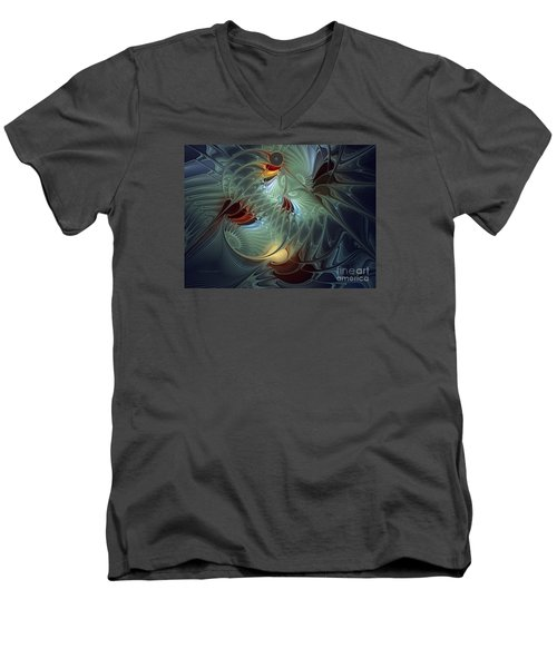 Men's V-Neck T-Shirt featuring the digital art Reach For The Moon by Karin Kuhlmann