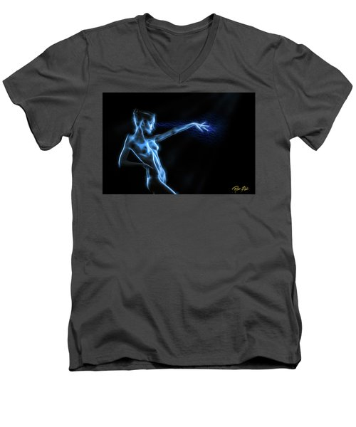 Men's V-Neck T-Shirt featuring the photograph Reaching Figure Darkness by Rikk Flohr