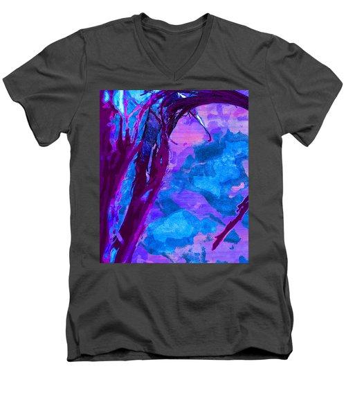 Reaching Into Blue Men's V-Neck T-Shirt by Samantha Thome